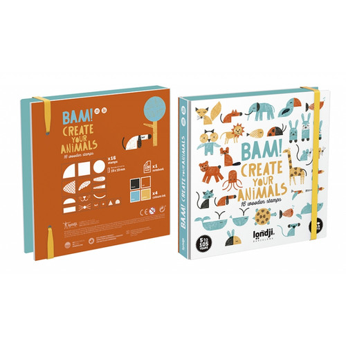 16 Wooden Stamps - Bam! Animals