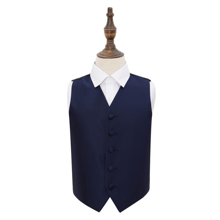 Solid Check Waistcoat - Boys - Navy Blue, 34'