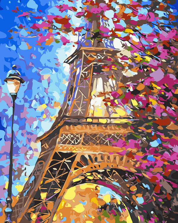 Blossom Eiffel Tower Paint by Numbers Kit - 40x50cm