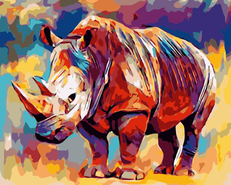 Colourful Rhino Paint by Numbers Kit