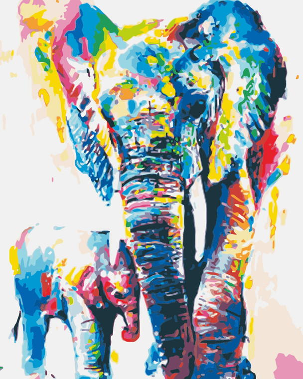 Colourful Father and Son elephant