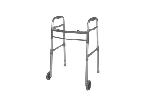 "Drive Medical Universal Deluxe Folding Walker with 5"" Wheels"