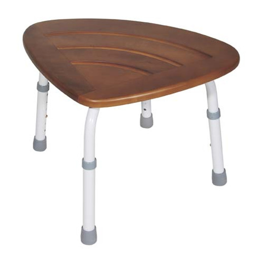 Drive Medical KD Teak Adjustable Height Bath Stool