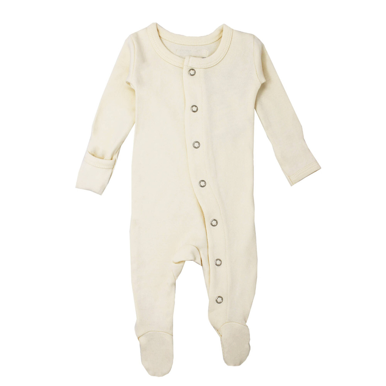 Organic Footed Overall in Beige, Flat