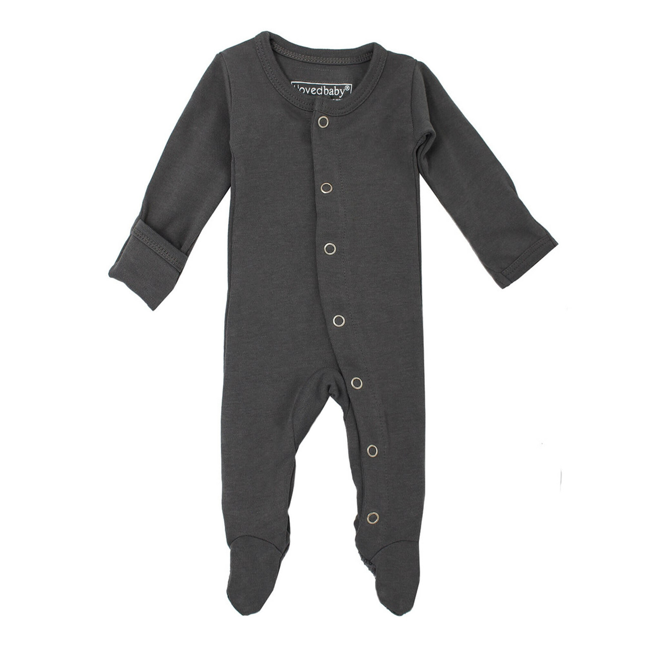 Organic Footed Overall in Gray, Flat