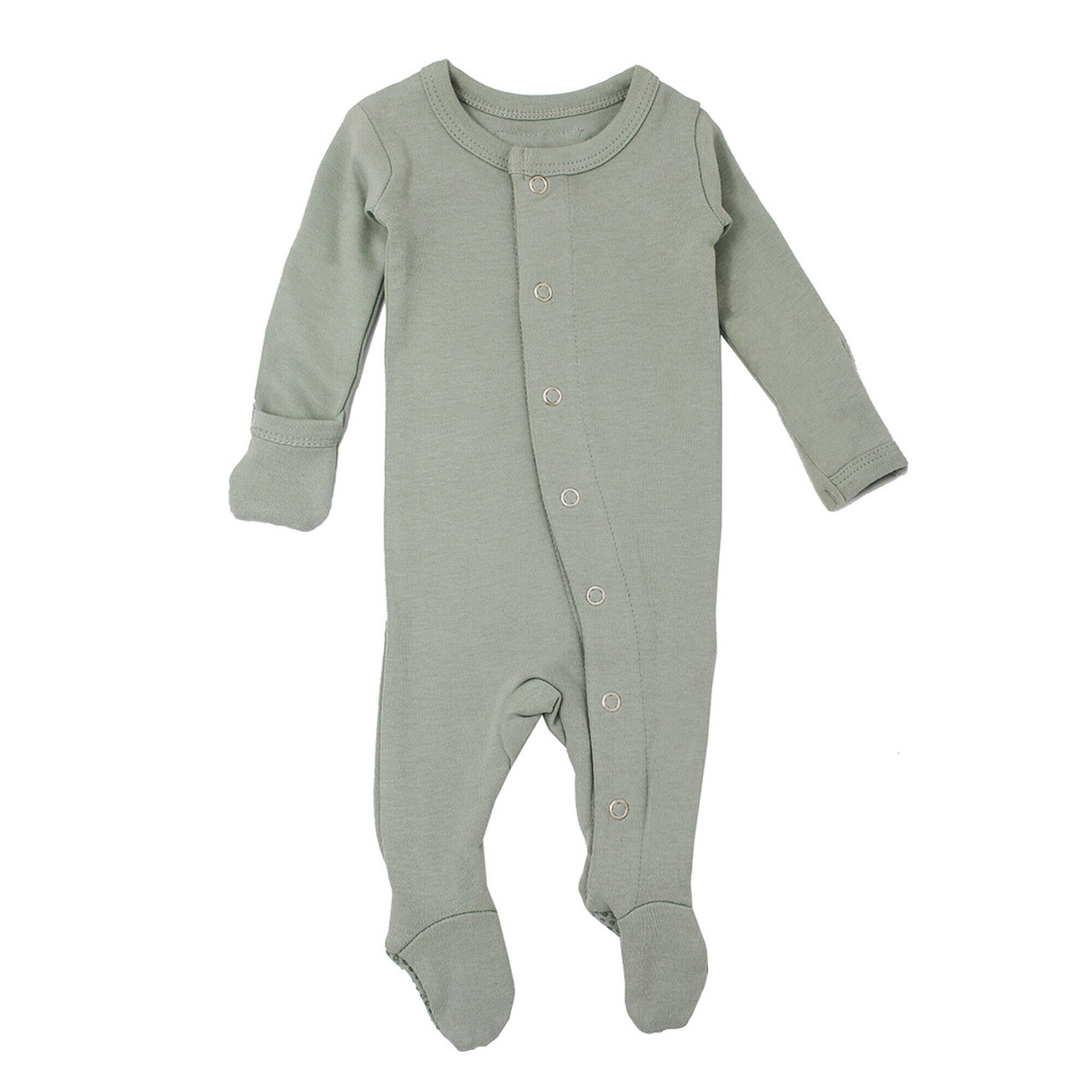 Organic Footed Overall in Seafoam, Flat