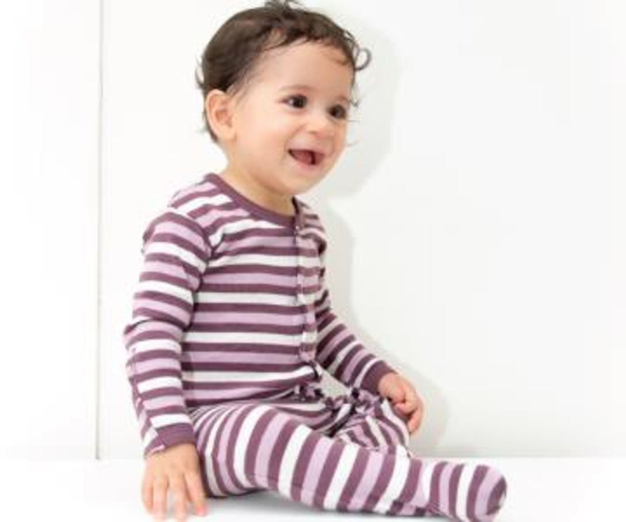 Organic Footed Overall in Eggplant Stripe, Lifestyle