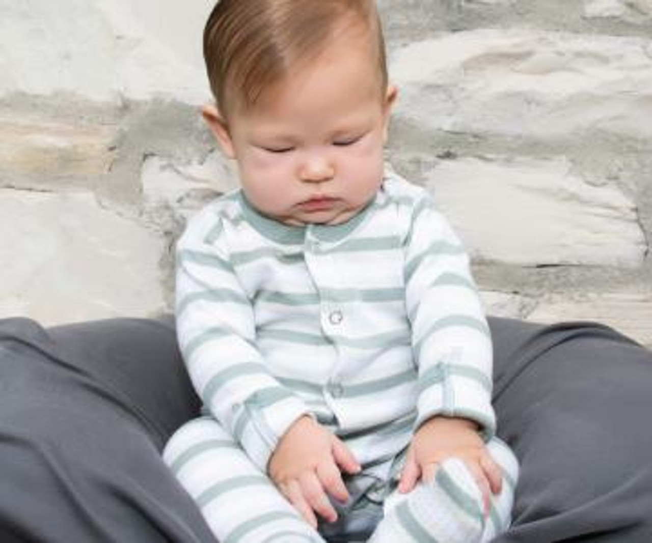 Organic Footed Overall in Seafoam Stripe, Lifestyle