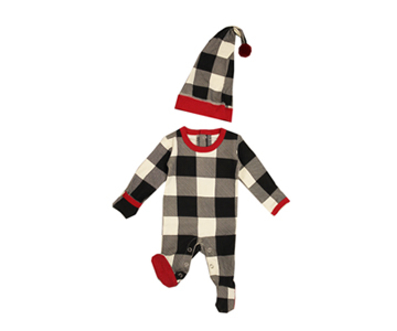 Organic Holiday Overall & Cap Set in Buffalo Check, Flat