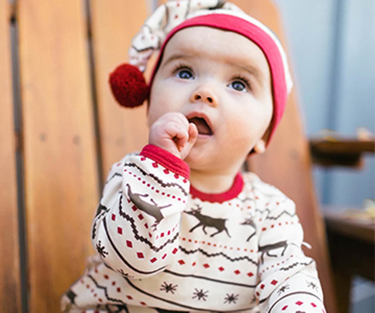 Organic Holiday Overall & Cap Set in Fair Isle Reindeer, Lifestyle