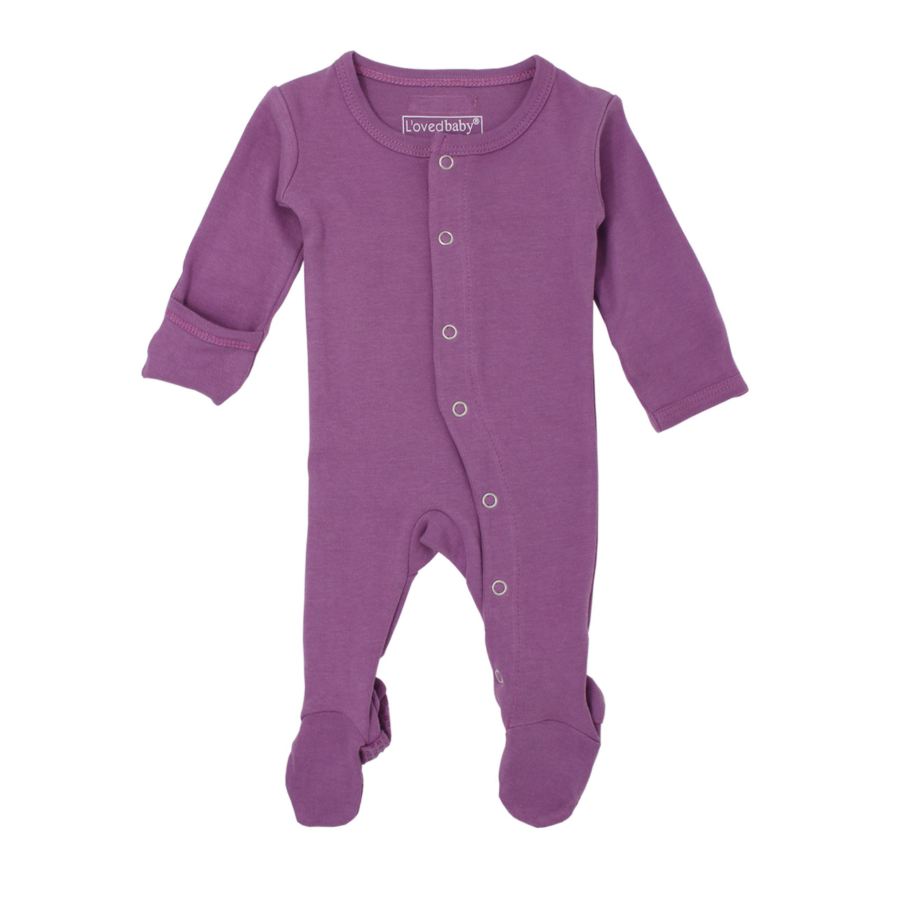 Organic Footed Overall in Grape, Flat