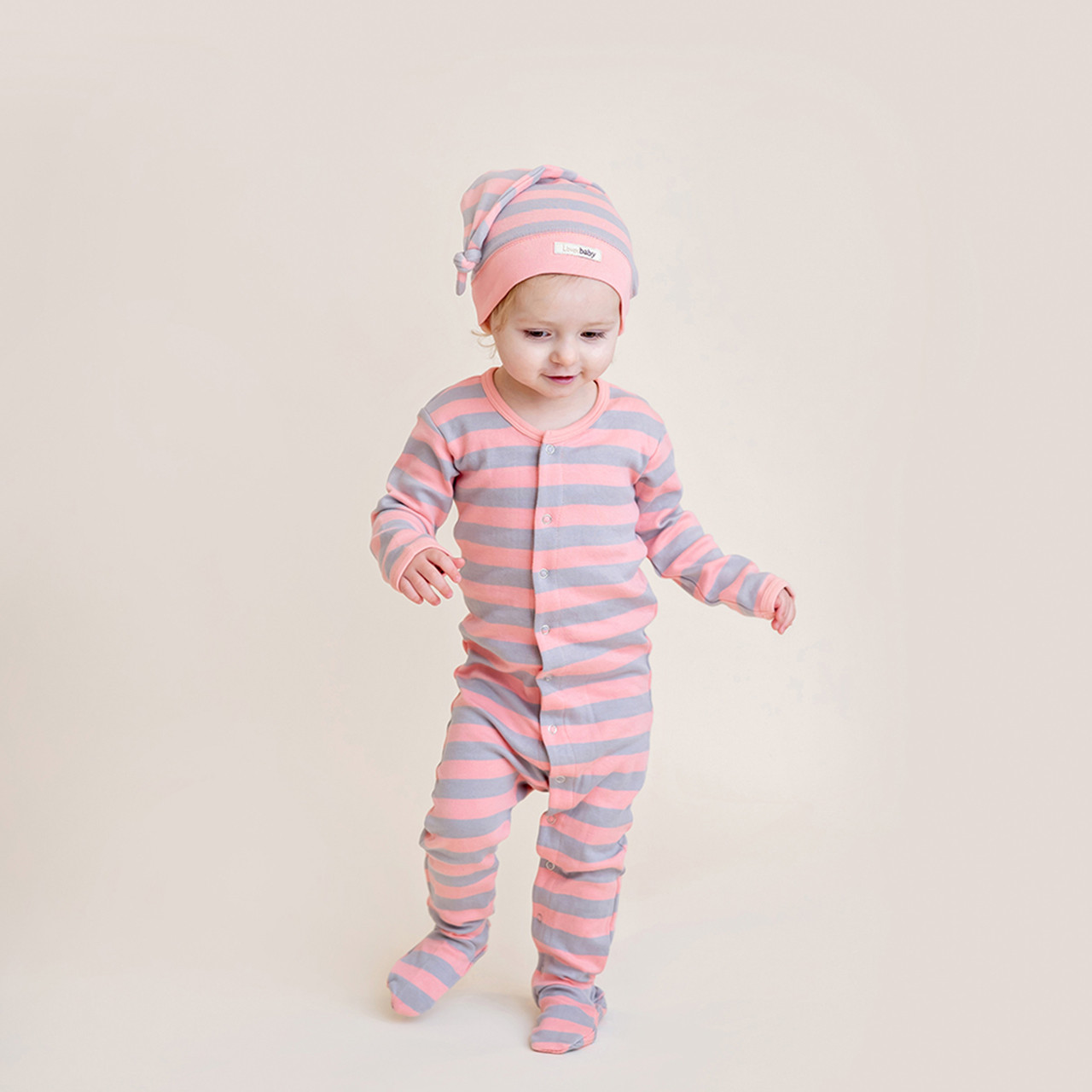Organic Banded Top-Knot Hat in Coral/Light Gray Stripe, Lifestyle