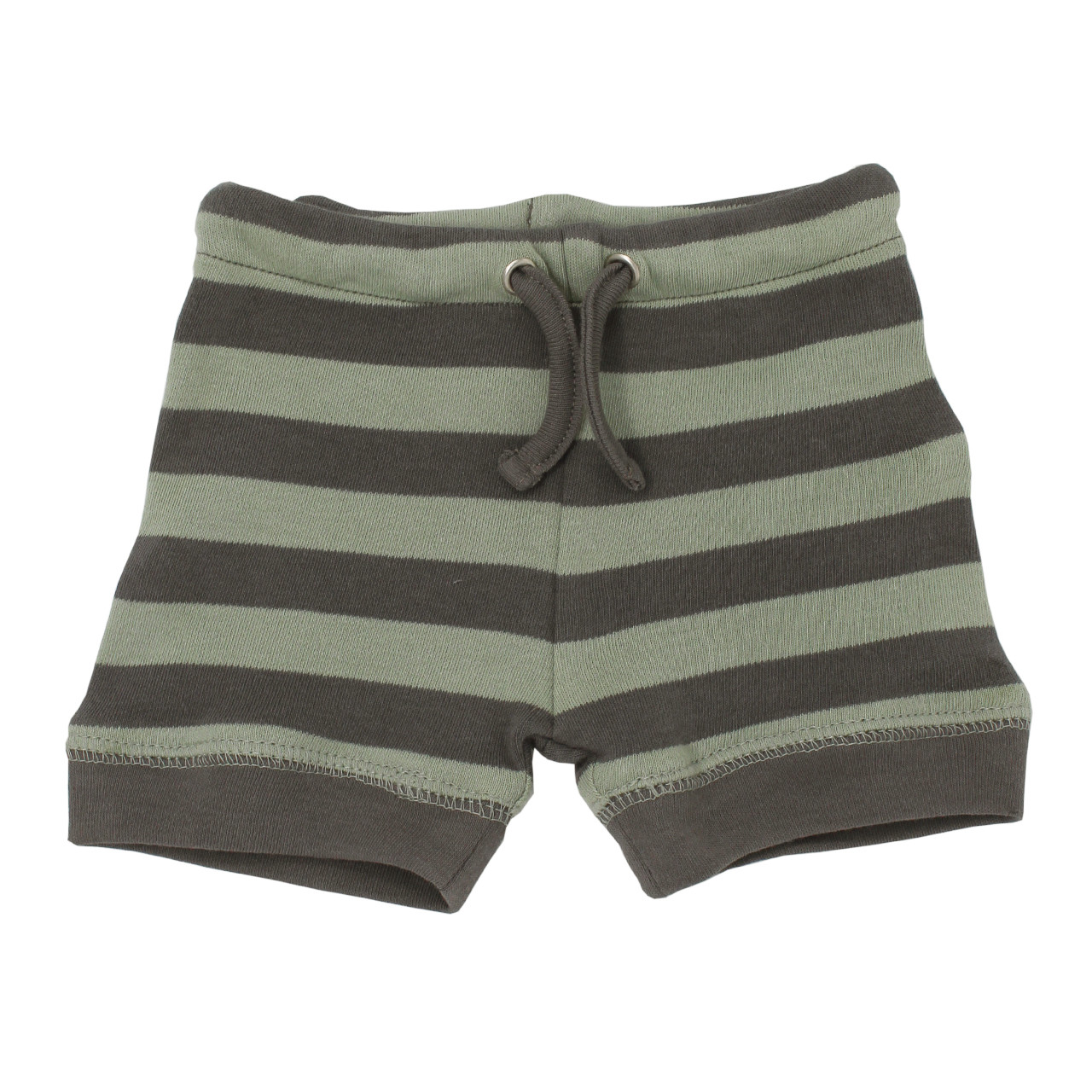 Organic Bike Shorts in Gray/Seafoam Stripe, Flat