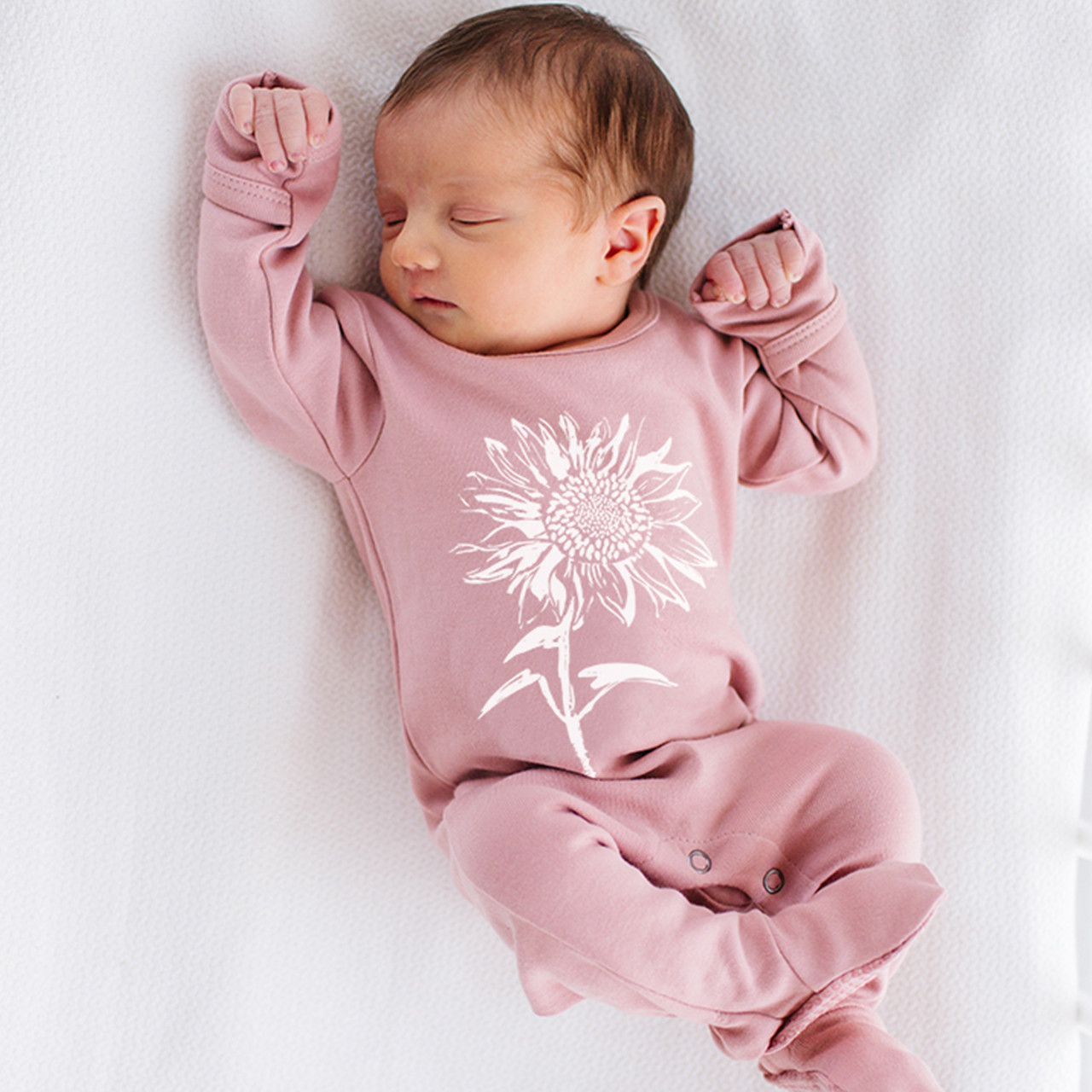 Organic Graphic Footie in Mauve Sunflower, Lifestyle