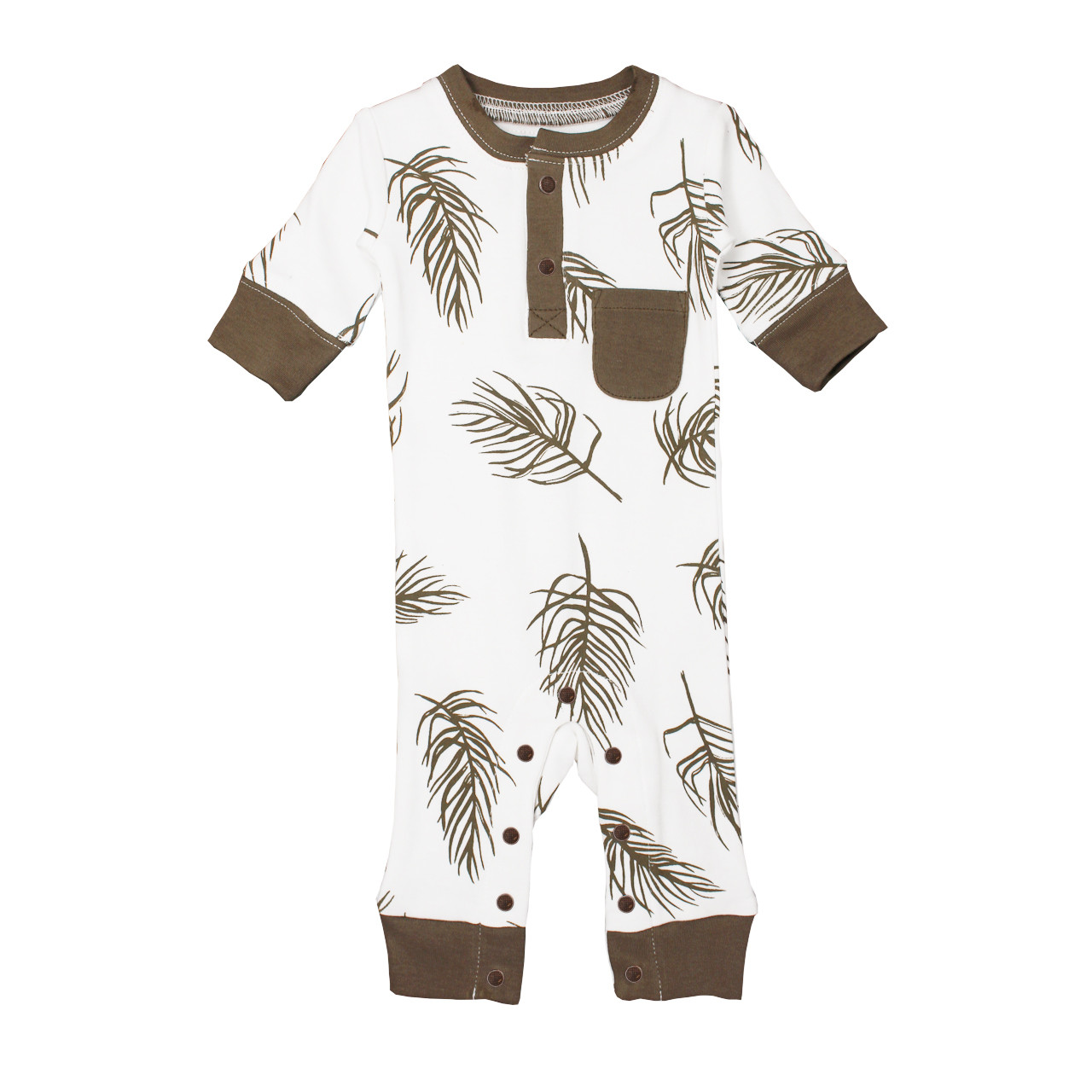 Organic Footless Romper in Bark Palm, Flat