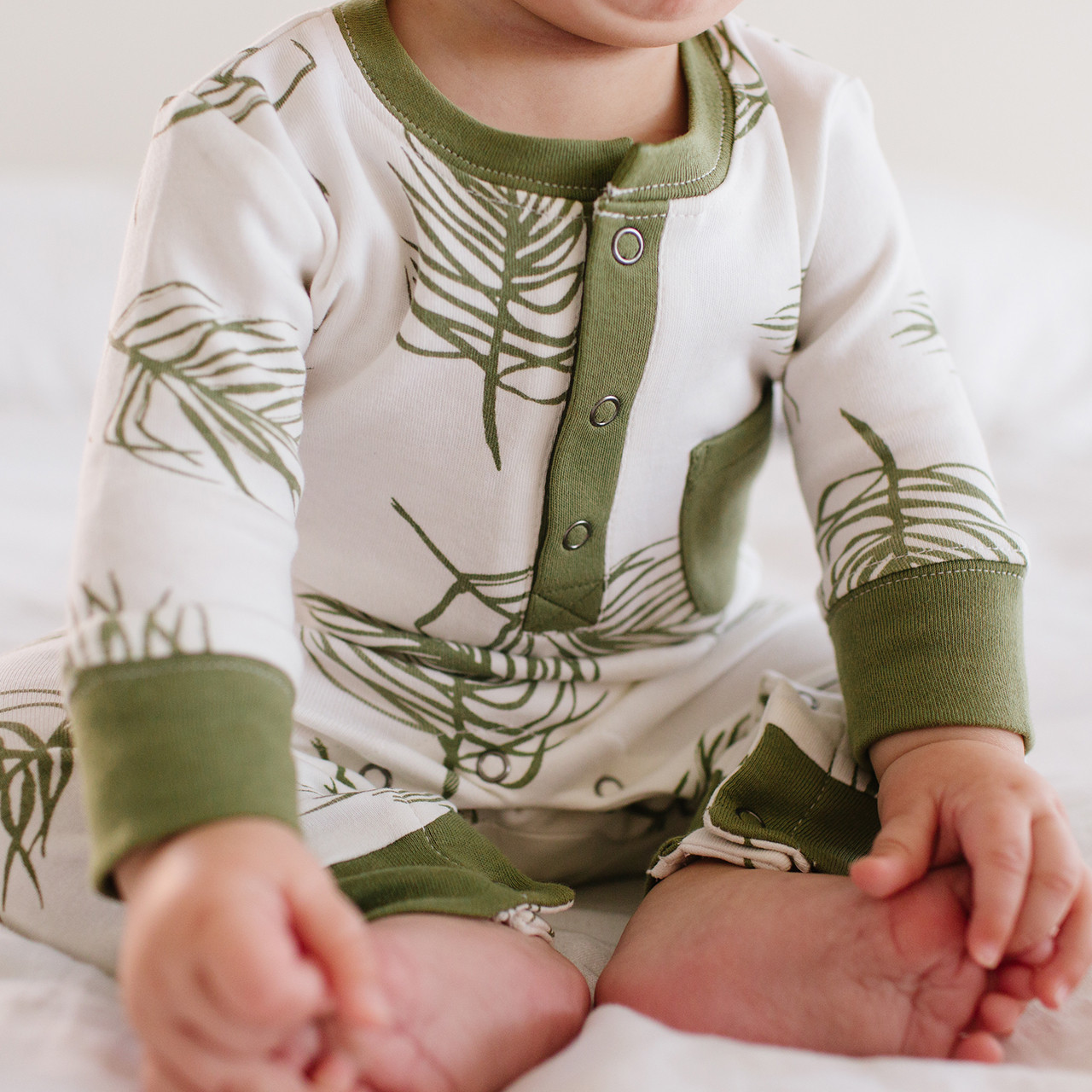 Organic Footless Romper in Sage Palm, Lifestyle