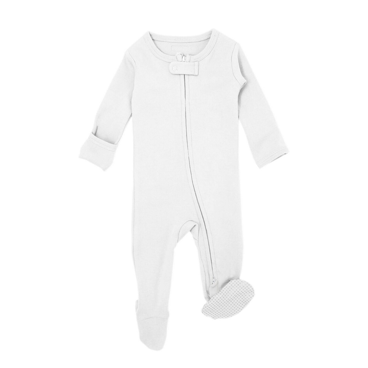 Organic Zipper Footed Overall in White, Flat