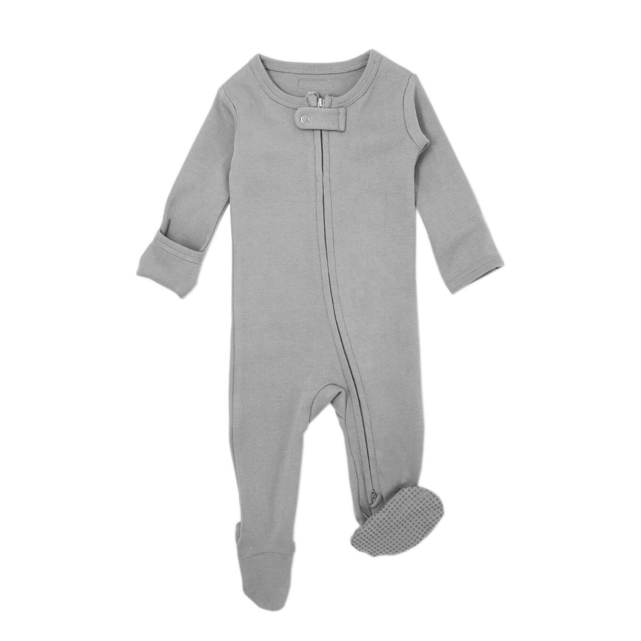 Organic Zipper Footed Overall in Light Gray, Flat
