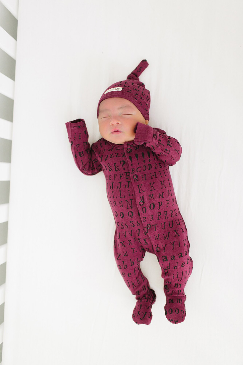 Organic Jumpsuit in Cranberry Letters, Lifestyle