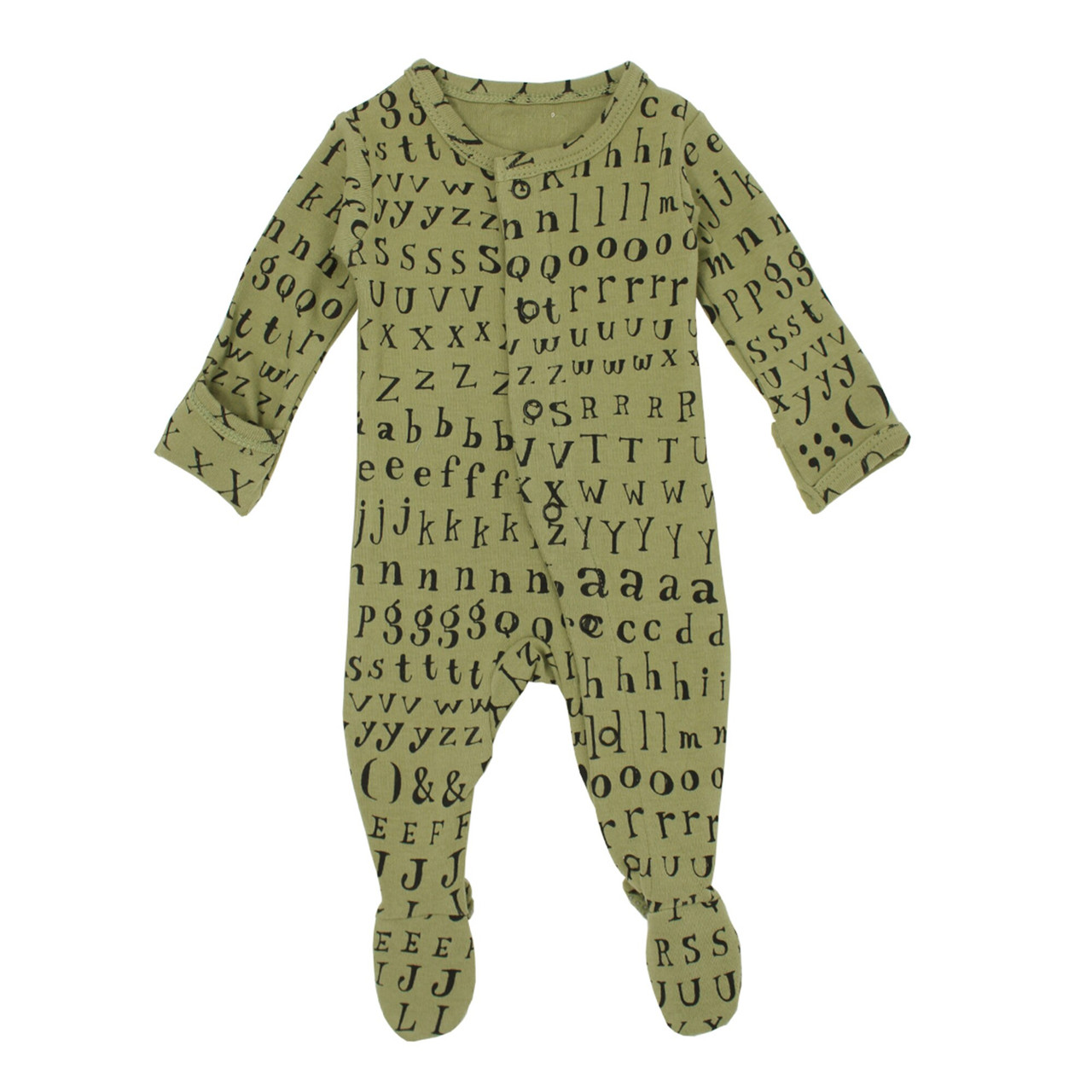 Organic Footed Overall in Sage Letters, Flat