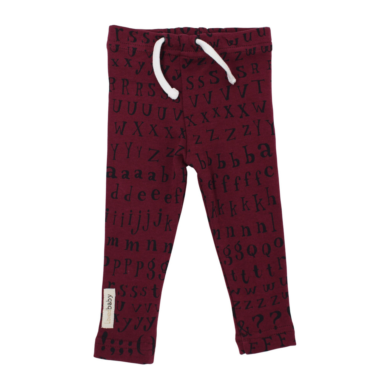 Organic Drawstring Leggings in Cranberry Letters, Flat