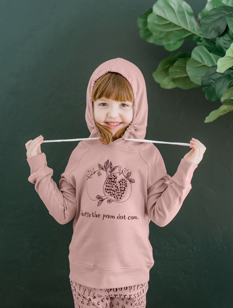 Organic Kids' Graphic Hooded Sweatshirt in Mauve Pomegranate, Lifestyle