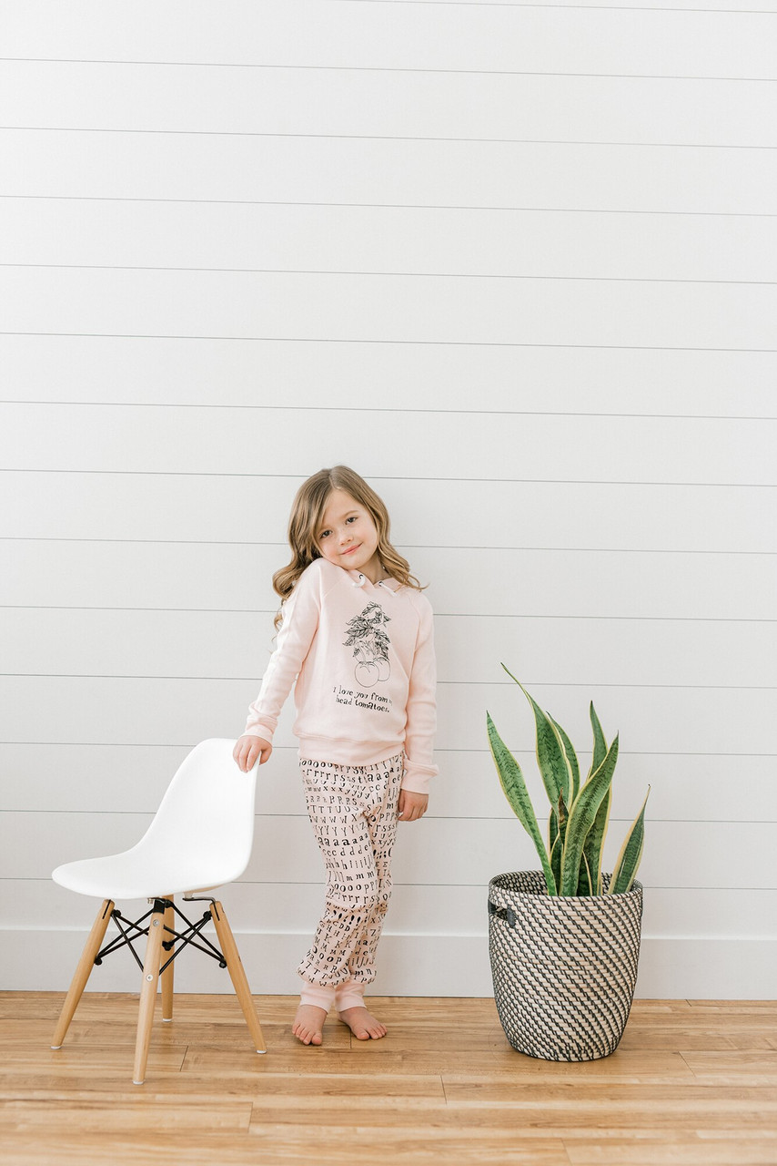 Organic Kids' Jogger Pants in Blush Letters, Lifestyle