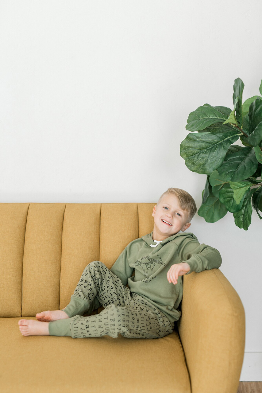 Organic Kids' Jogger Pants in Sage Letters, Lifestyle