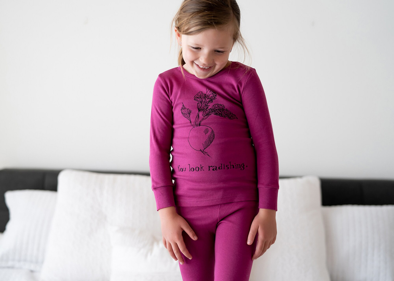 Organic Kids' L/Sleeve PJ Set in Magenta Radish, Lifestyle