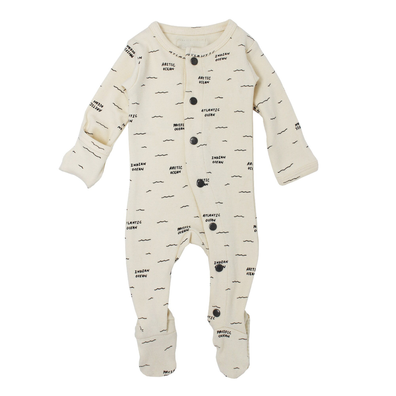 Organic Footed Overall in Beige Seas, Flat