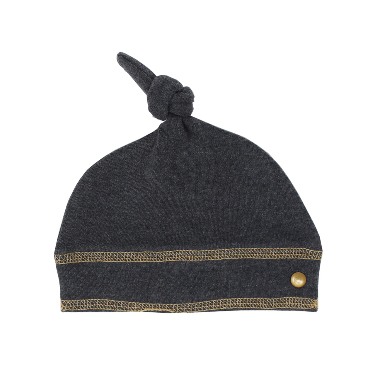 Organic Banded Top-Knot Hat in Dark Heather/Honey, Flat