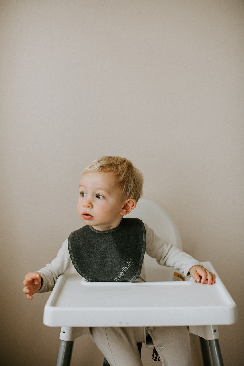Organic Reversible Bandana Bib in Dark Heather/Seafoam, Lifestyle