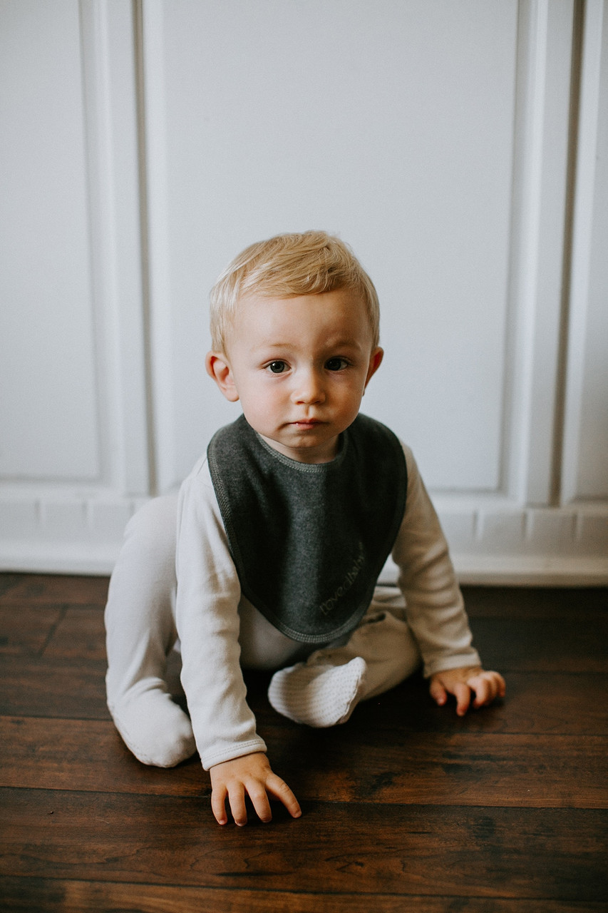 Organic Reversible Bandana Bib in Dark Heather/Gray, Lifestyle