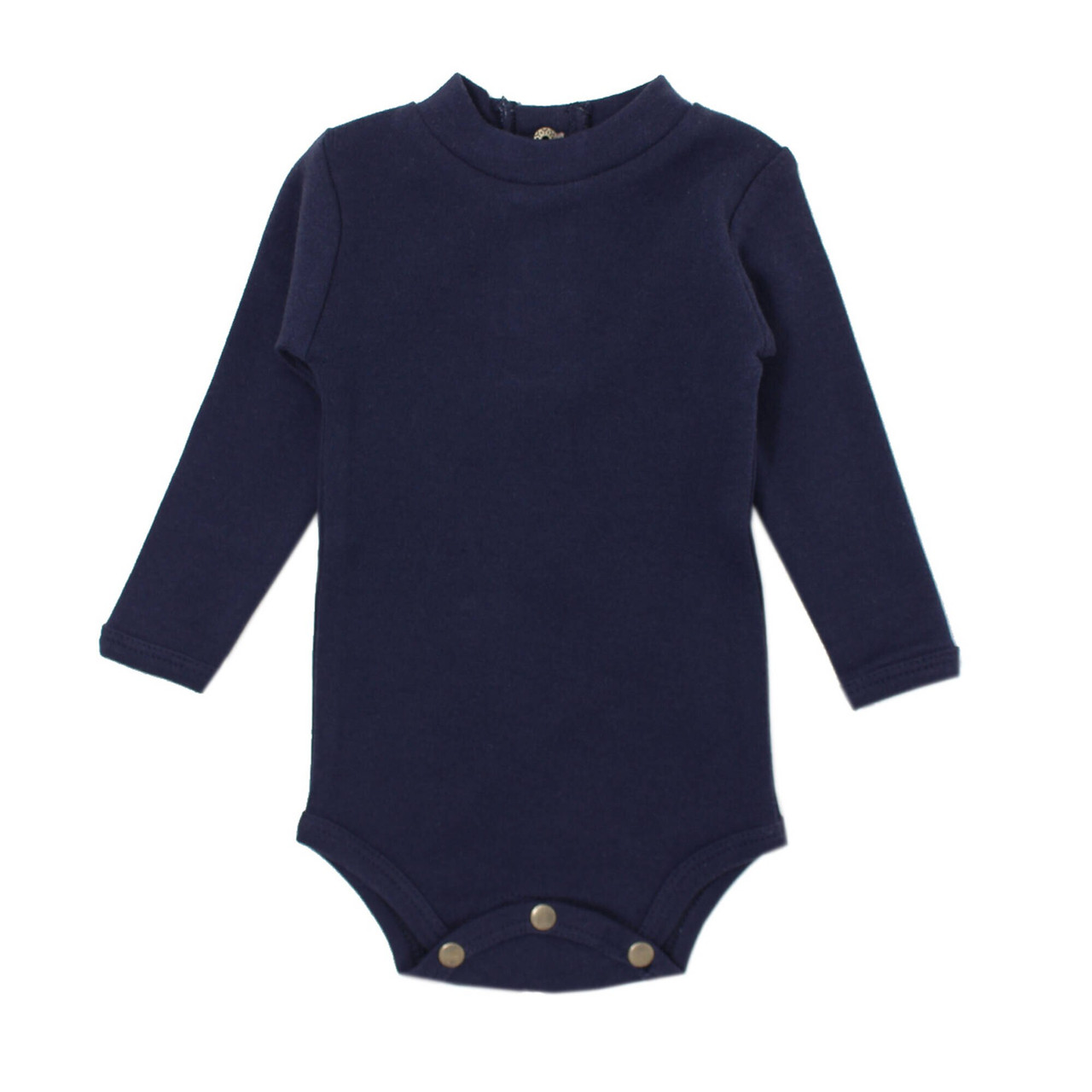 Organic Mock-Neck Bodysuit in Navy, Flat