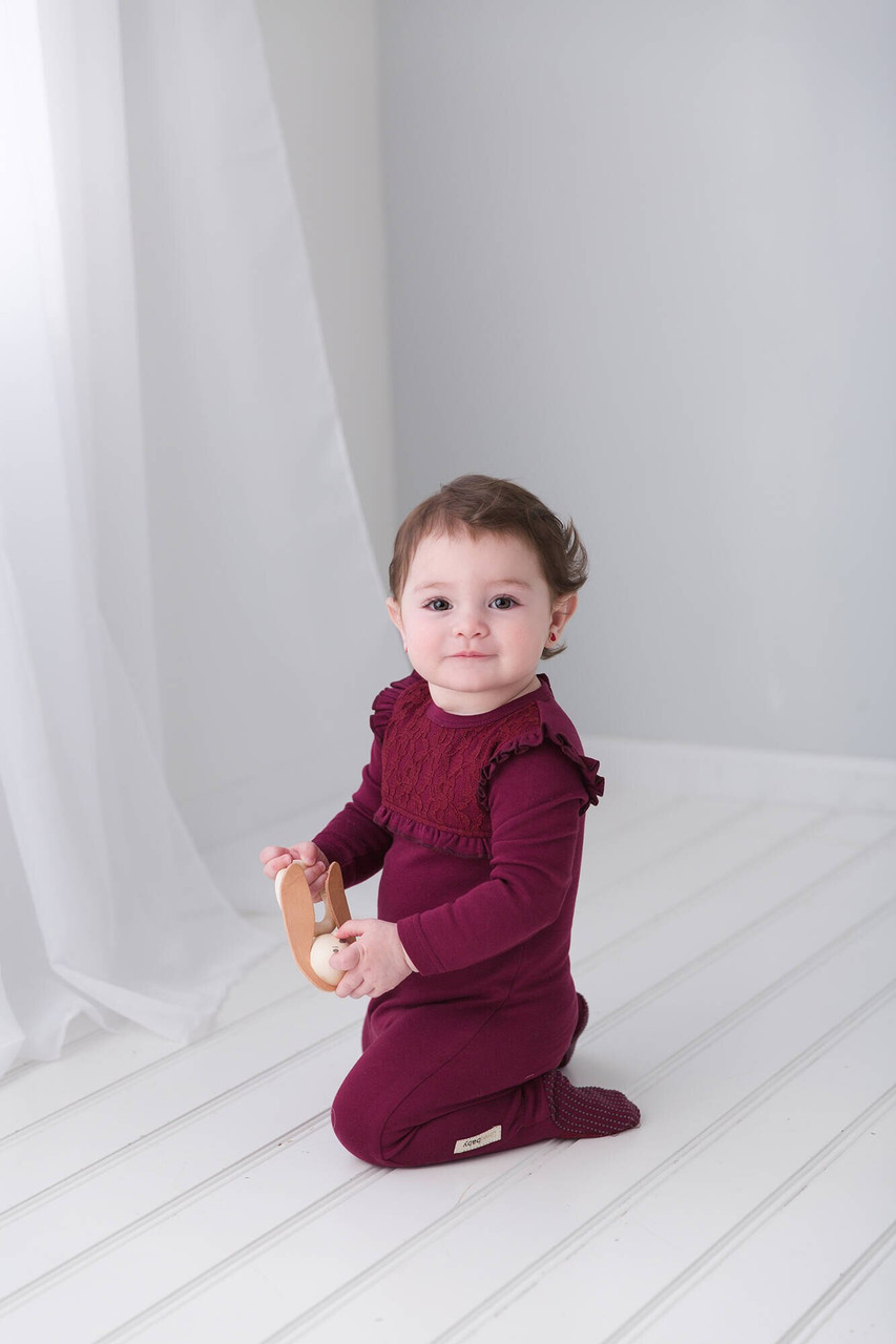 Organic Vintage Overall in Cranberry, Lifestyle