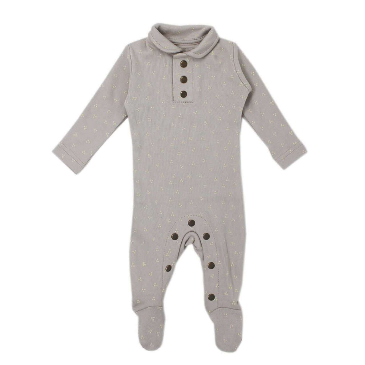 Organic Polo Overall in Pebble Dots, Flat