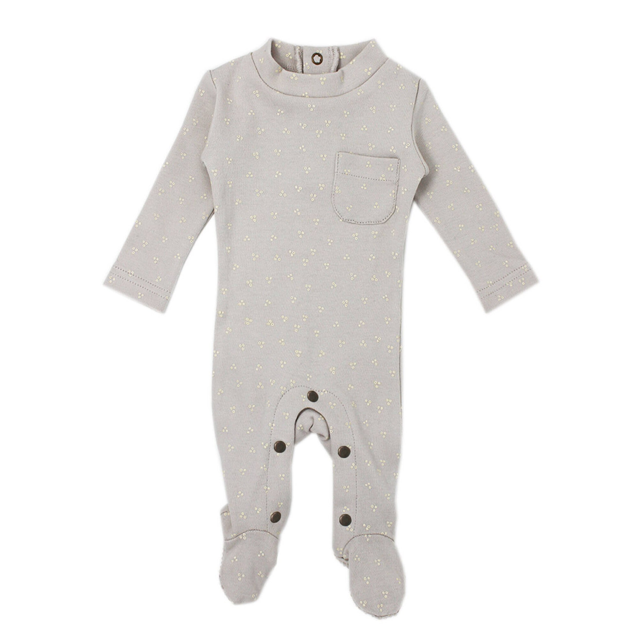 Organic Mock-Neck Overall in Pebble Dots, Flat