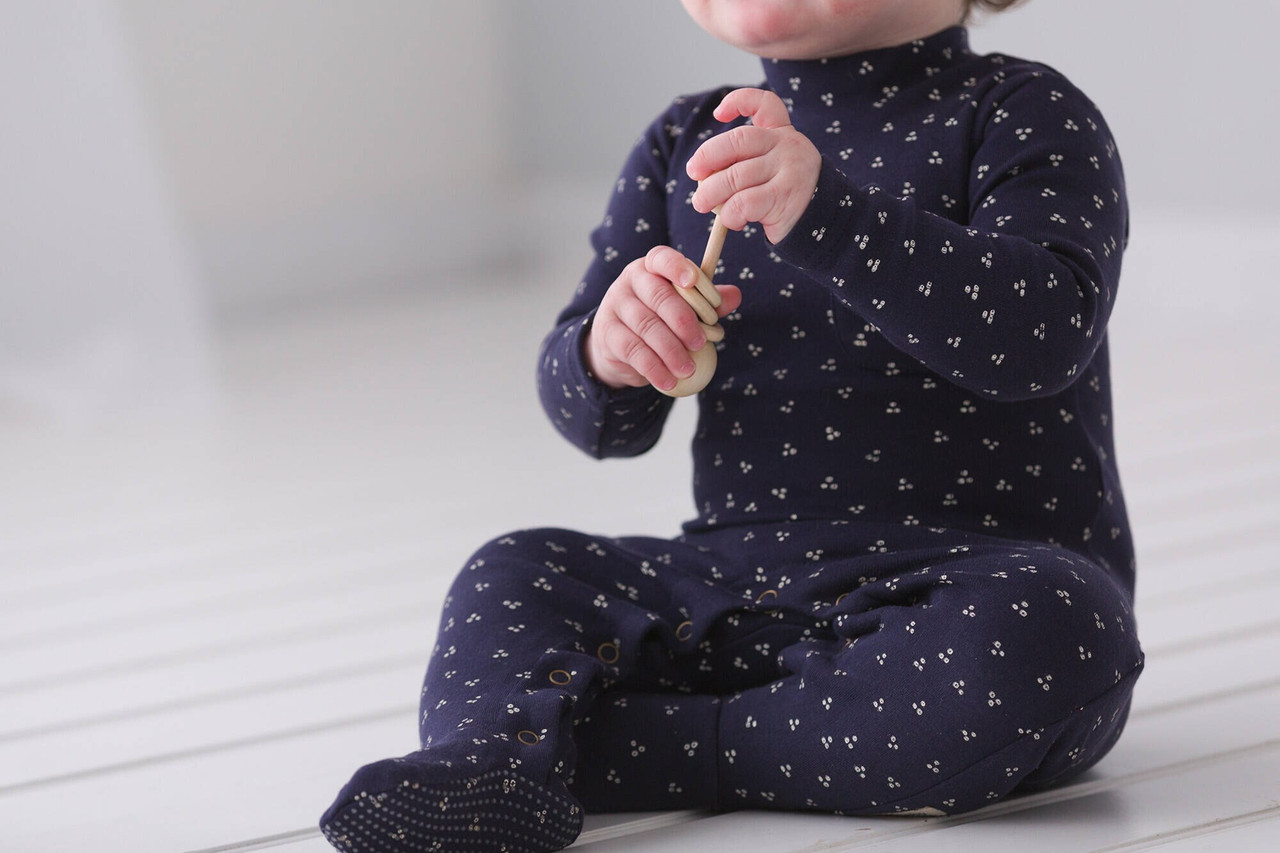 Organic Mock-Neck Overall in Navy Dots, Lifestyle