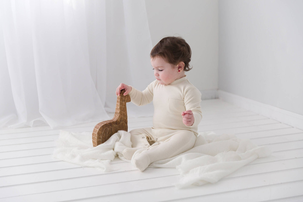Organic Mock-Neck Overall in Beige, Lifestyle
