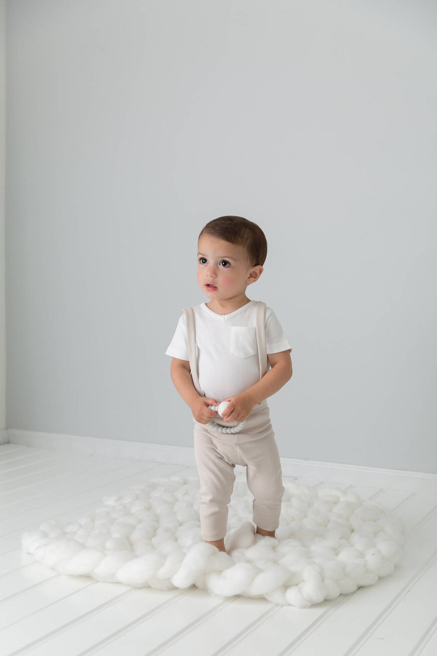 Organic Suspender Pant in Pebble, Lifestyle