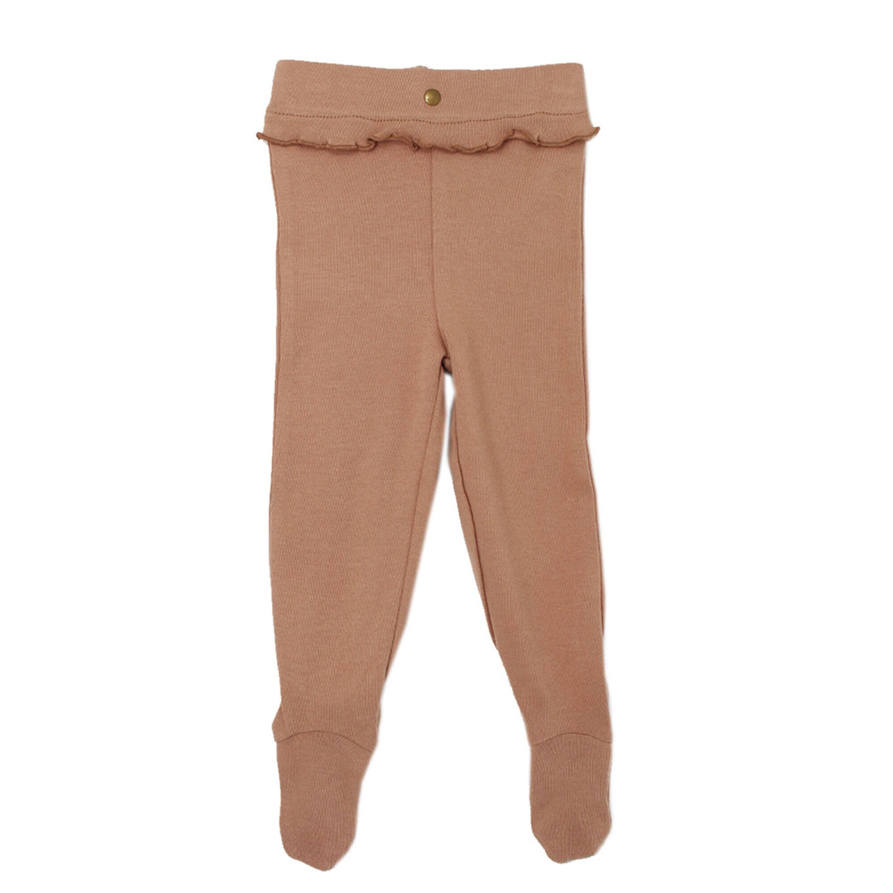 Organic Ruffle Footed Legging in Nutmeg (Up to 6-9m), Flat