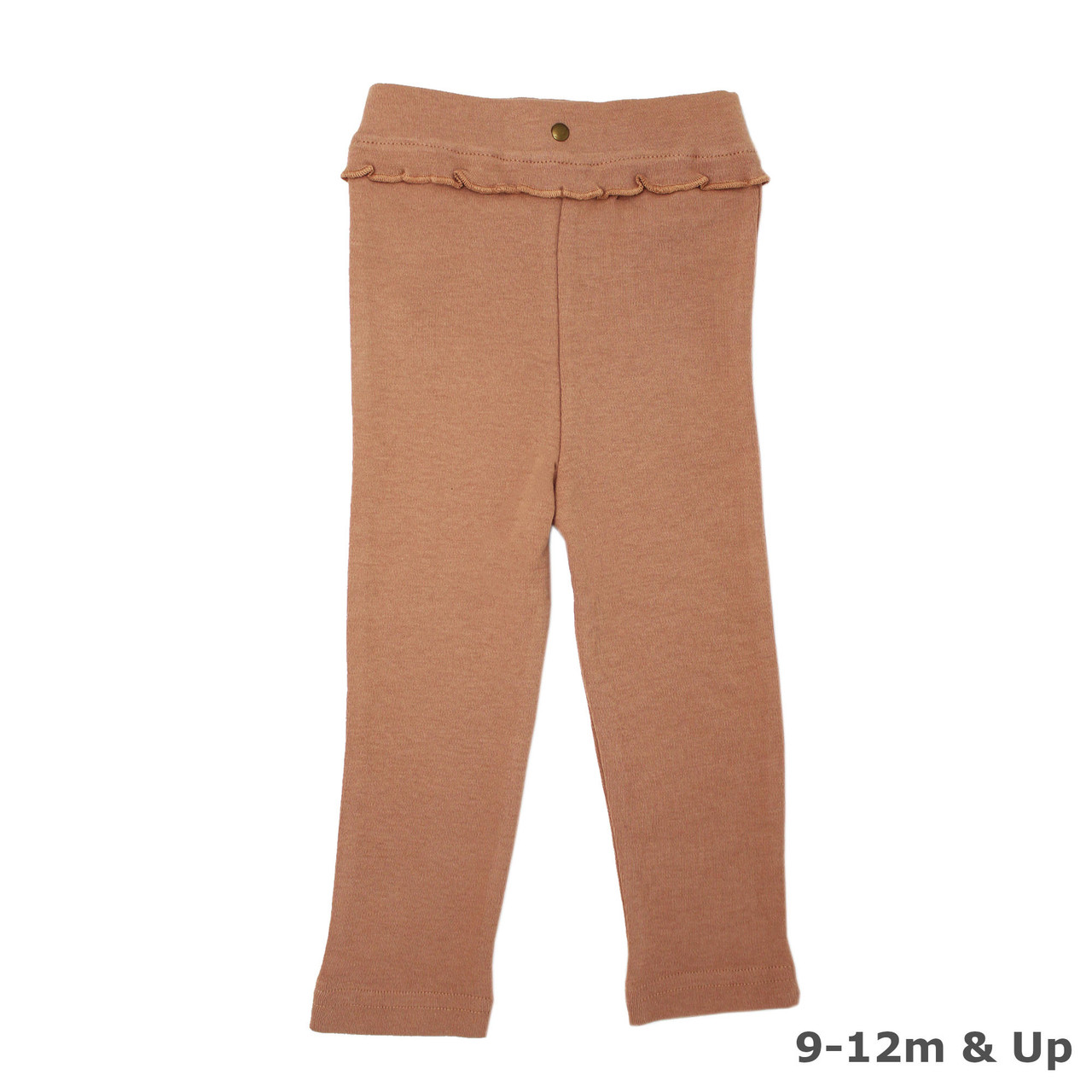 Organic Ruffle Footed Legging in Nutmeg (9-12m & Up), Flat