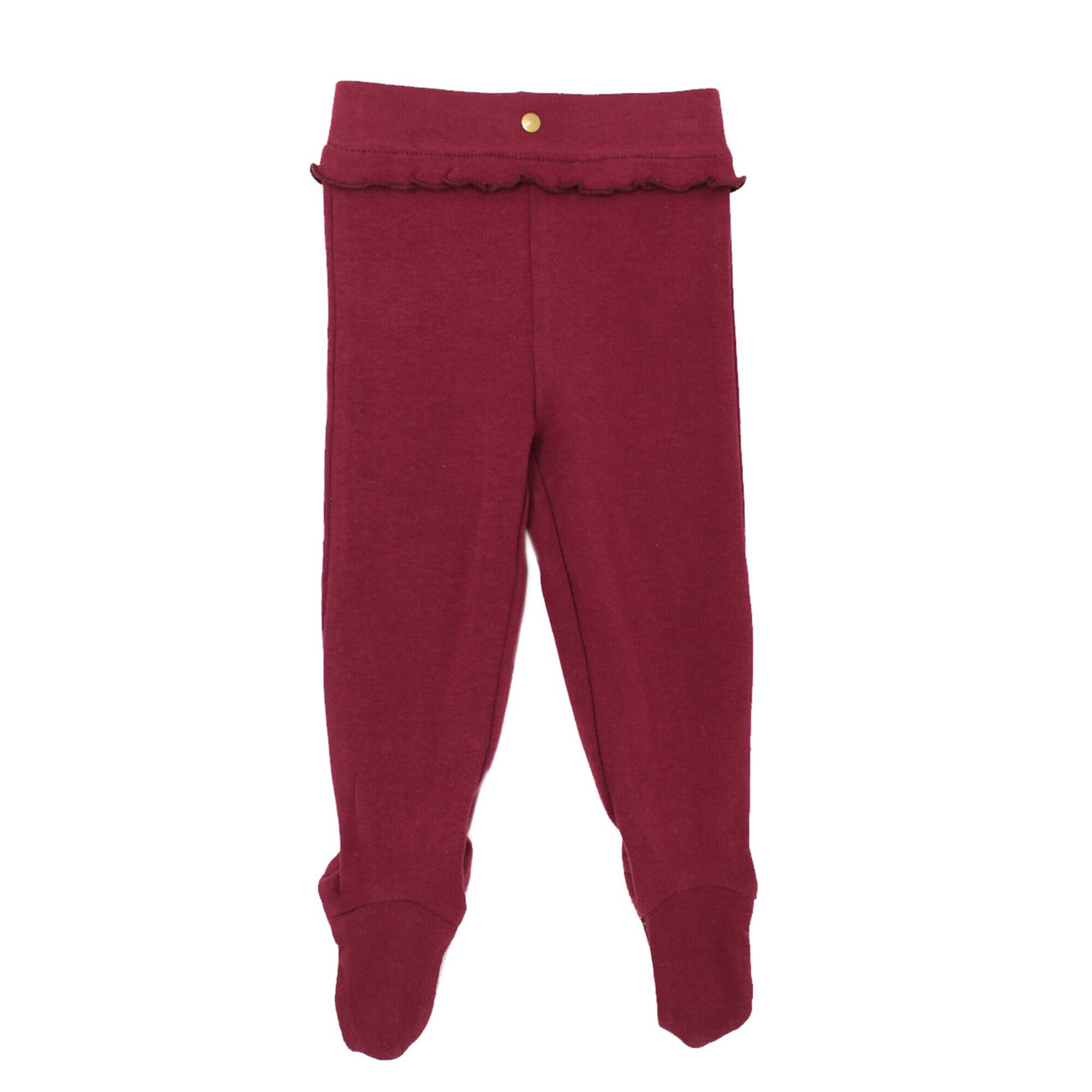 Organic Ruffle Footed Legging in Cranberry (Up to 6-9m), Flat
