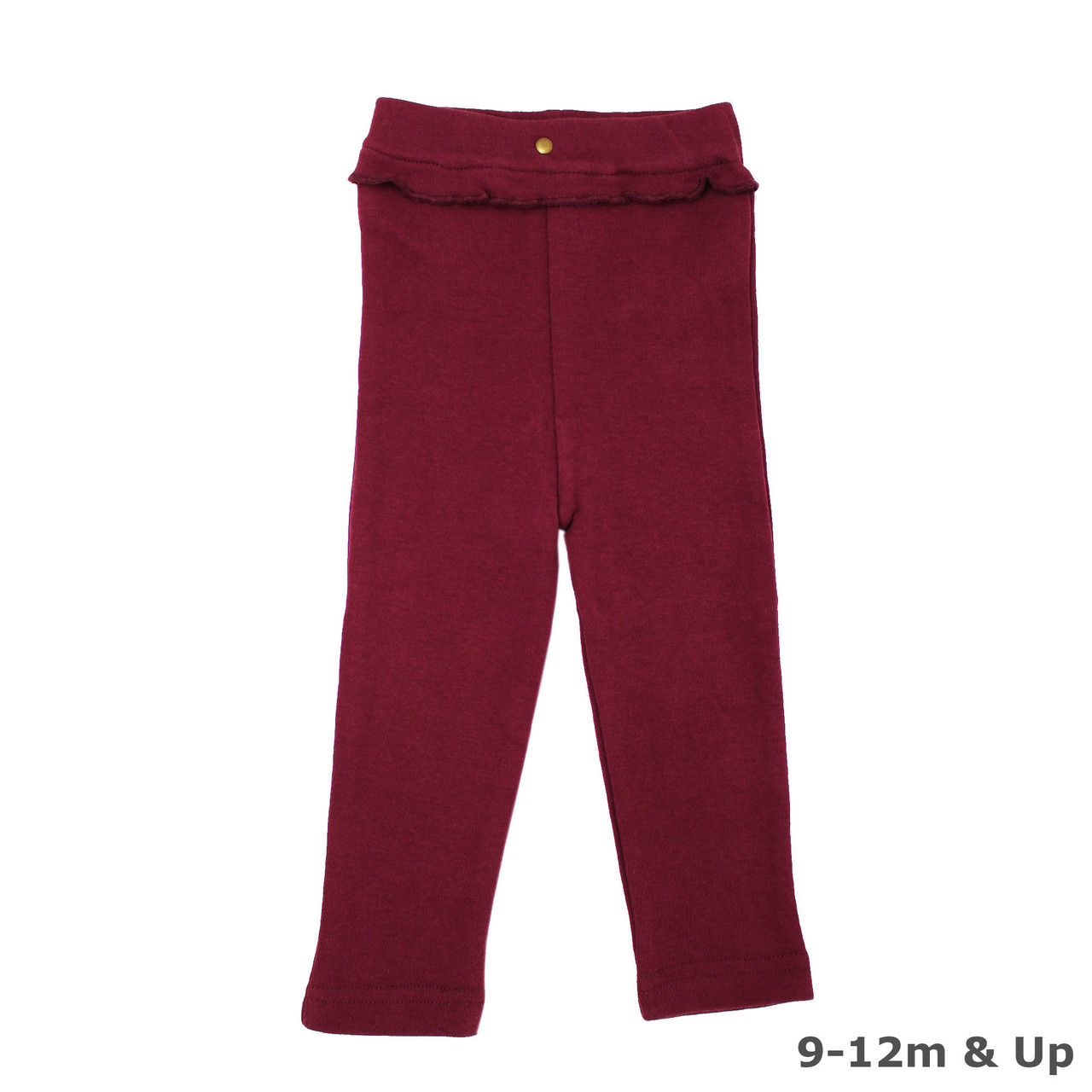 Organic Ruffle Footed Legging in Cranberry (9-12m & Up), Flat