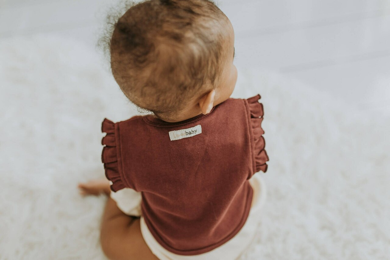 Organic Lace Ruffle Vest in Cranberry, Lifestyle