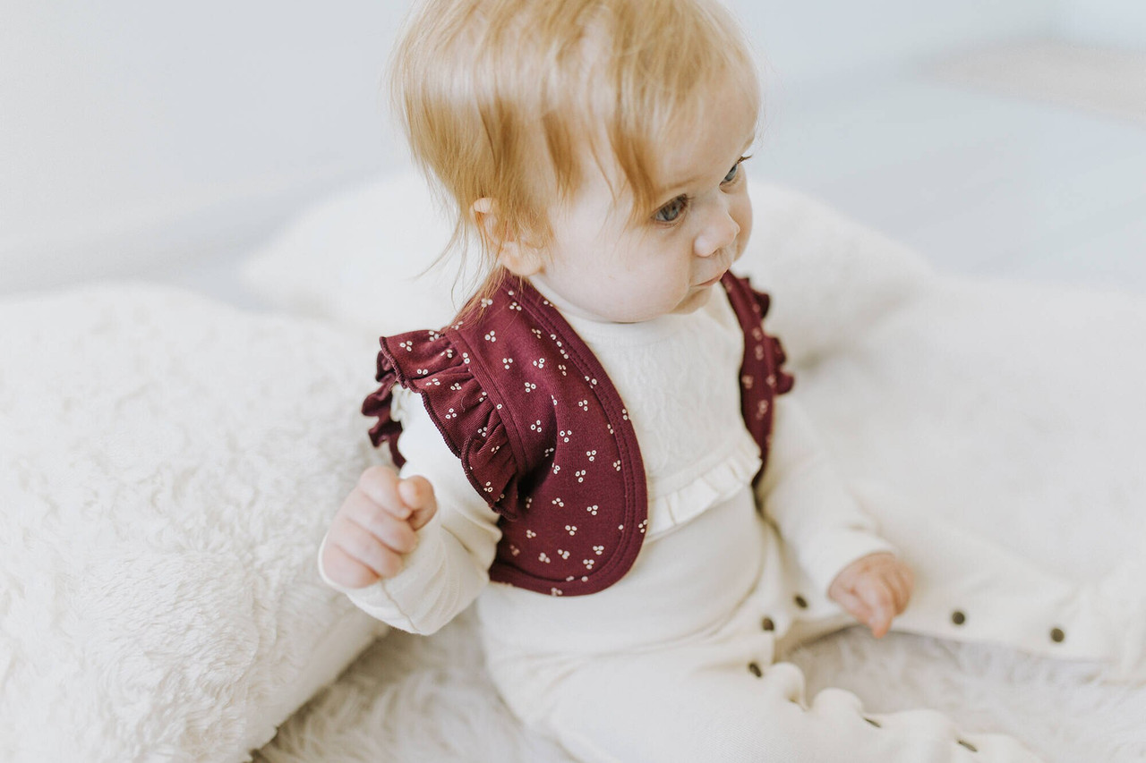 Organic Ruffle Vest in Cranberry Dots, Lifestyle