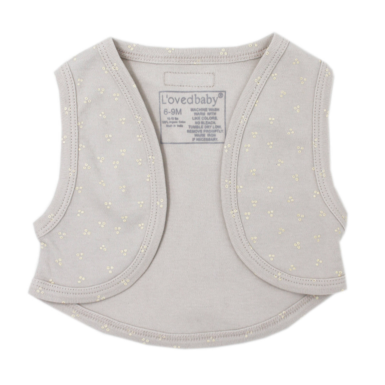 Organic Vest in Pebble Dots, Flat
