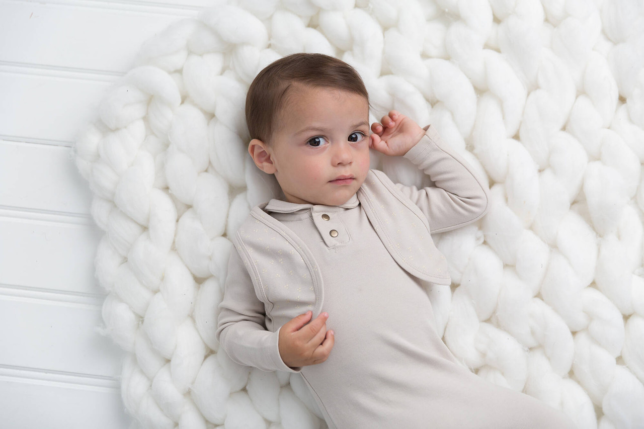 Organic Vest in Pebble Dots, Lifestyle