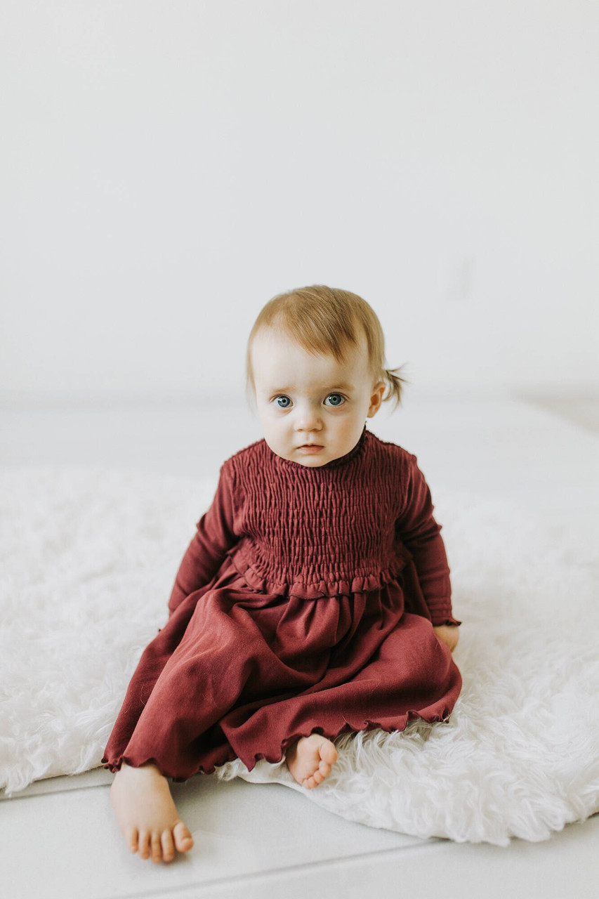 Organic Smocked Dress in Cranberry, Lifestyle