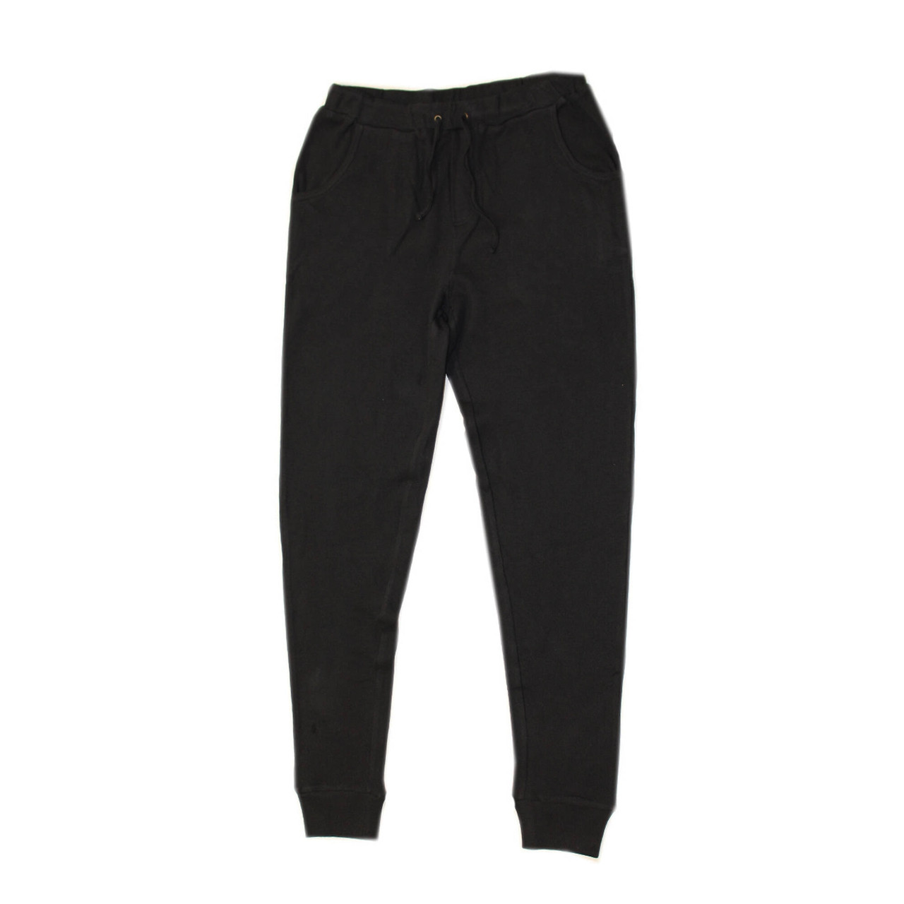 Organic Thermal Men's Jogger Pants in Black, Flat
